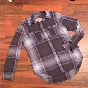Mossimo Purple Plaid Boyfriend Fit Top